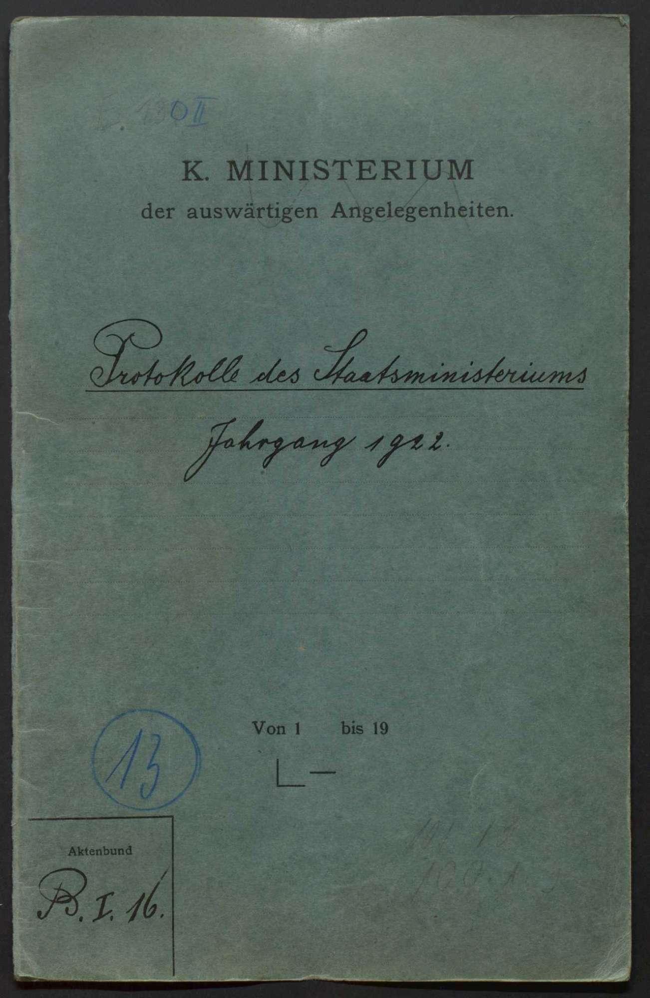 Niederschriften über Sitzungen des Staatsministeriums mit Beilagen, Bild 1