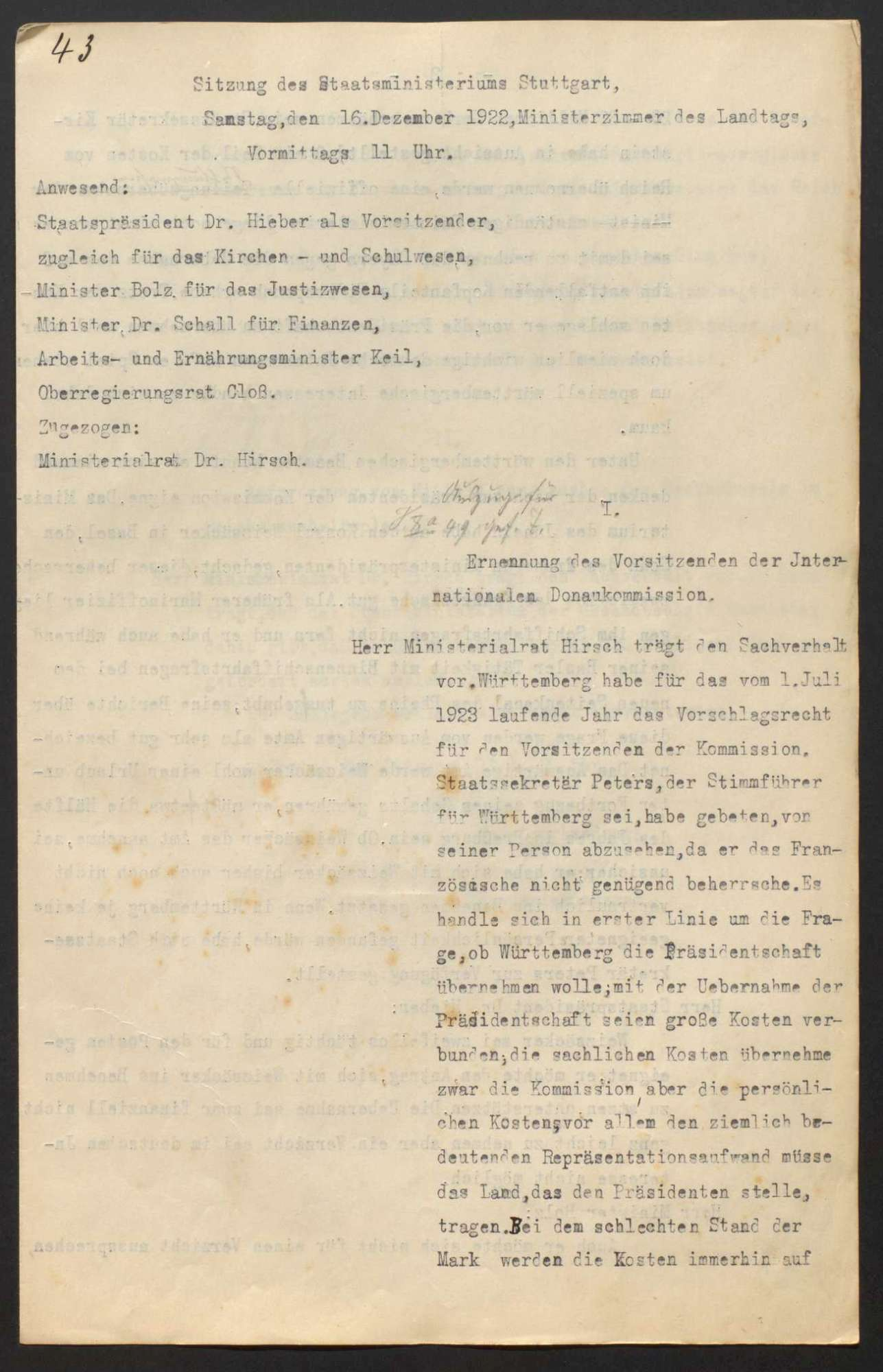 Niederschriften über Sitzungen des Staatsministeriums mit Beilagen, Bild 3