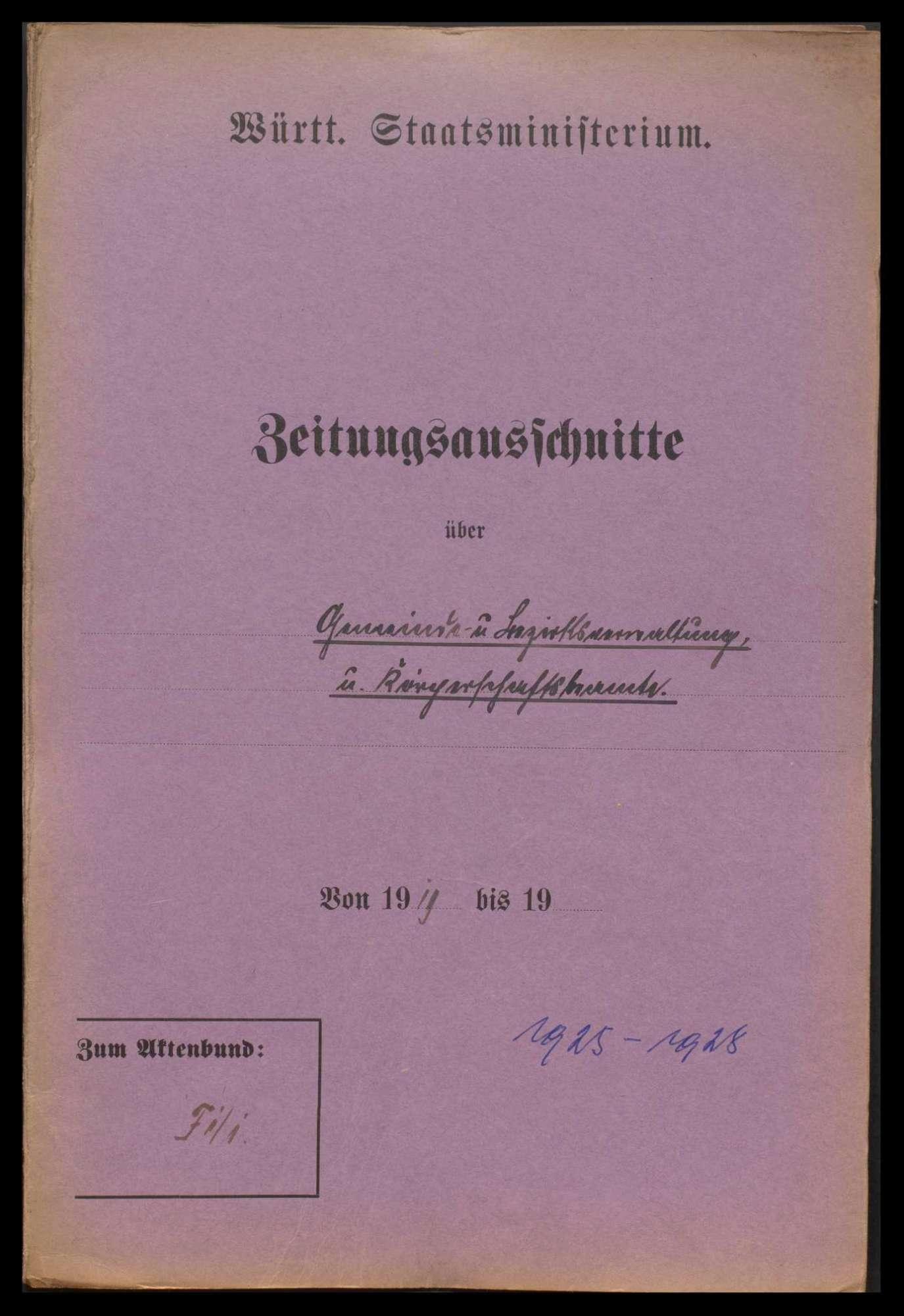Allgemeine Fragen, Eingaben über die finanzielle Lage der Gemeinden und Oberämter (Kreise), Verleihungen der Stadteigenschaft (Einzelfälle), Bild 2
