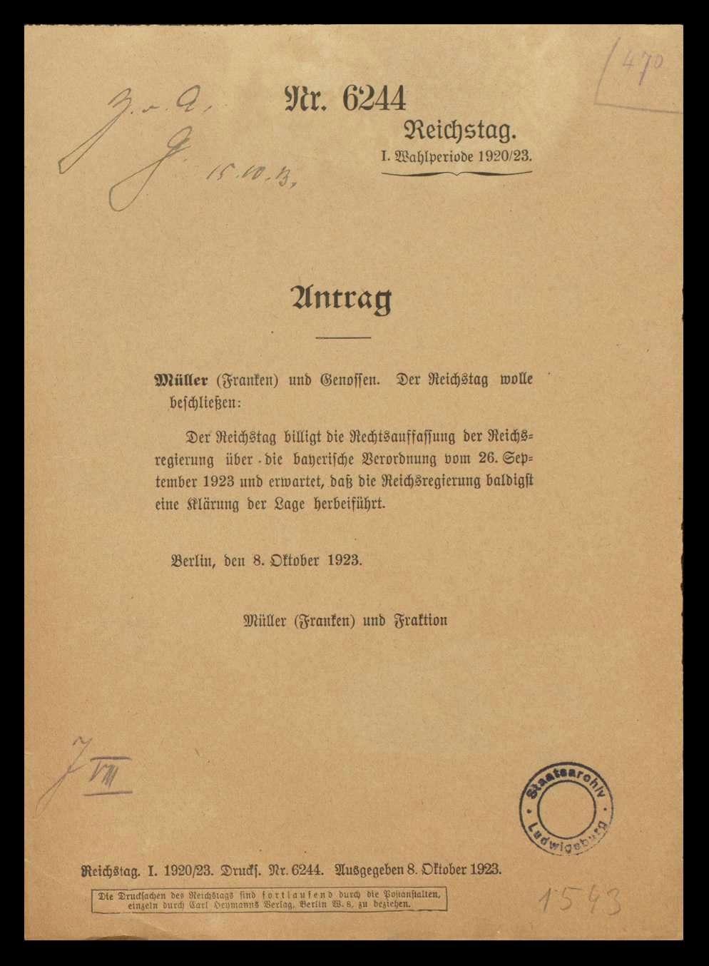 Maßnahmen des Reichs und der Länder aufgrund Artikel 48 der Reichsverfassung zum Schutz und zur Wiederherstellung der öffentlichen Ordnung, militärischer Ausnahmezustand, Bild 1