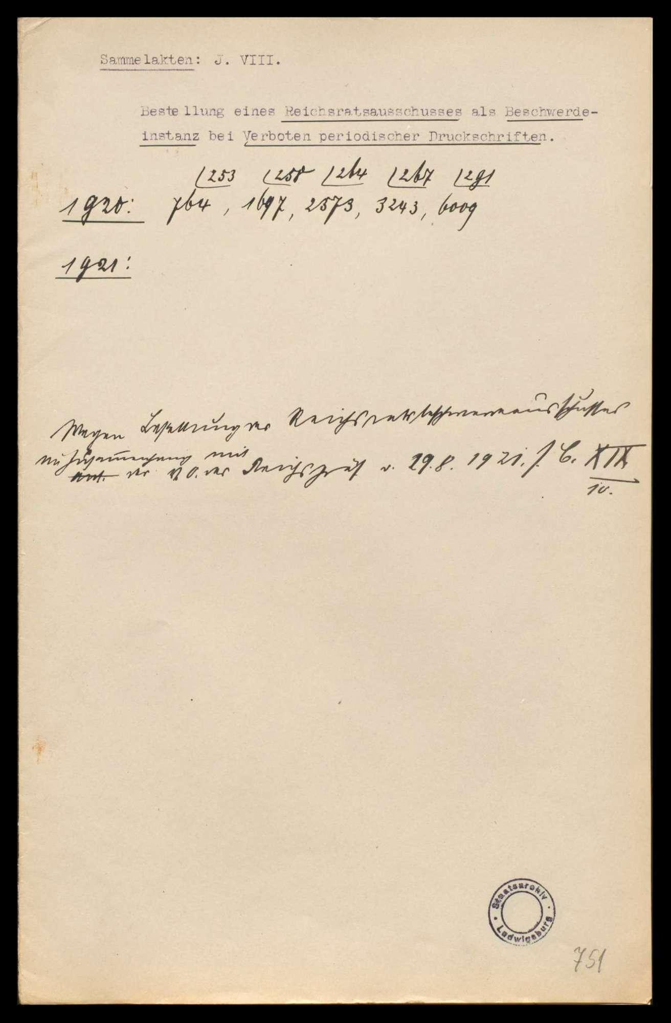 Bildung eines Reichsratsausschusses als Beschwerdeinstanz bei Verboten periodischer Druckschriften, Bild 1