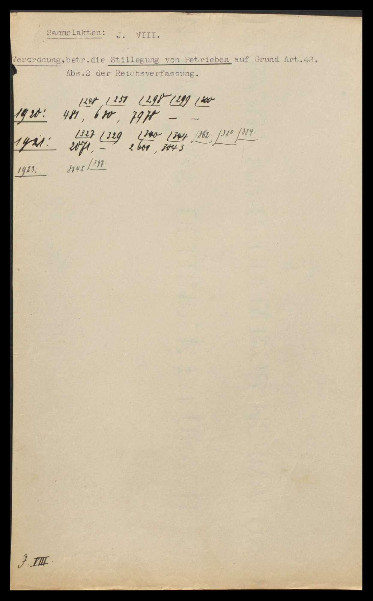 Verordnung des Reichspräsidenten vom 10.10.1920 über die Stillegung von Betrieben, welche die Bevölkerung mit Gas, Wasser und Elektrizität versorgen und Beachtung dieser Bestimmung bei Unruhen und Streiks, Bild 2