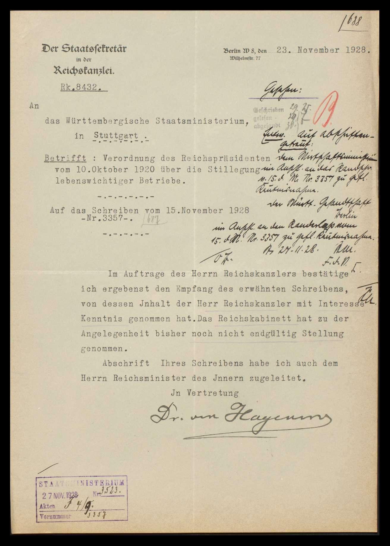Verordnung des Reichspräsidenten vom 10.10.1920 über die Stillegung von Betrieben, welche die Bevölkerung mit Gas, Wasser und Elektrizität versorgen und Beachtung dieser Bestimmung bei Unruhen und Streiks, Bild 3