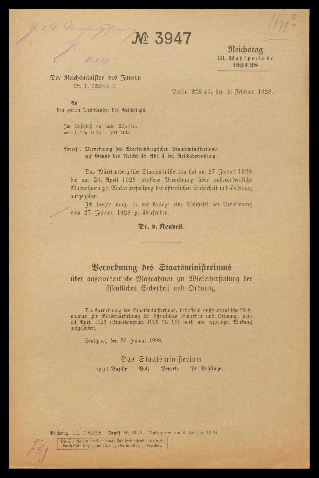 Verordnungen des Württembergischen Staatsministeriums vom 24.4. 1923 betr. außerordentliche Maßnahmen zur Wiederherstellung der öffentlichen Sicherheit und Ordnung sowie vom 14.8.1923 betr. Verbot von Versammlungen, Ansammlungen und Demonstrationen, Durchführung dieser Verordnungen, Kommentare dazu und Aufhebung, Bild 2