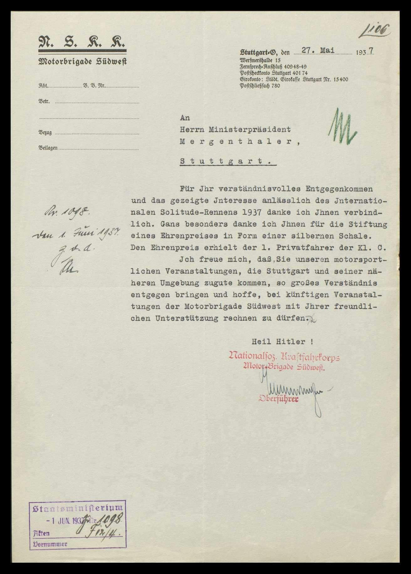 Abhaltung von Solitude-Rennen, Einladungen an den Staats- bzw. Ministerpräsidenten und Stiftung von Preisen, Bild 3