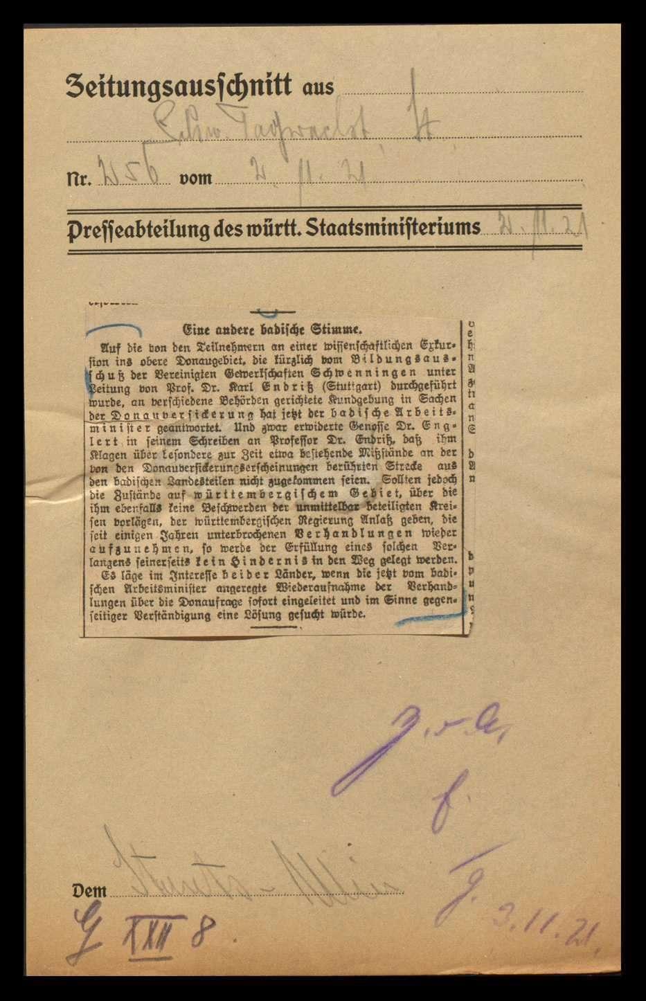 Donauversickerung zwischen Immendingen und Möhringen und sich daraus ergebende Probleme für die Anrainerstaaten, besonders für Württemberg und Baden, Bild 2