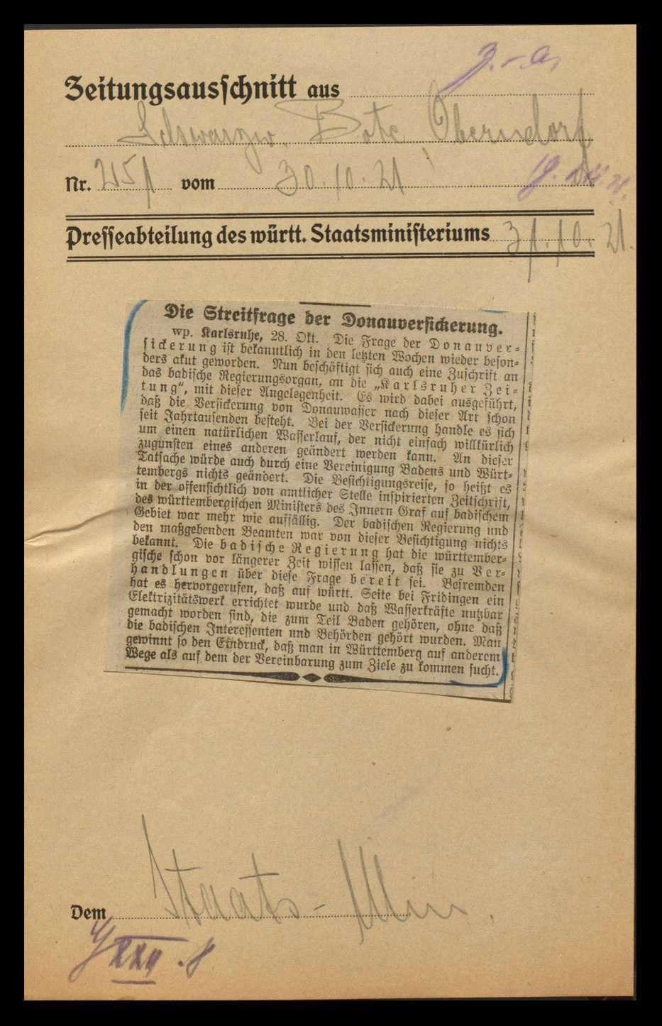 Donauversickerung zwischen Immendingen und Möhringen und sich daraus ergebende Probleme für die Anrainerstaaten, besonders für Württemberg und Baden, Bild 3