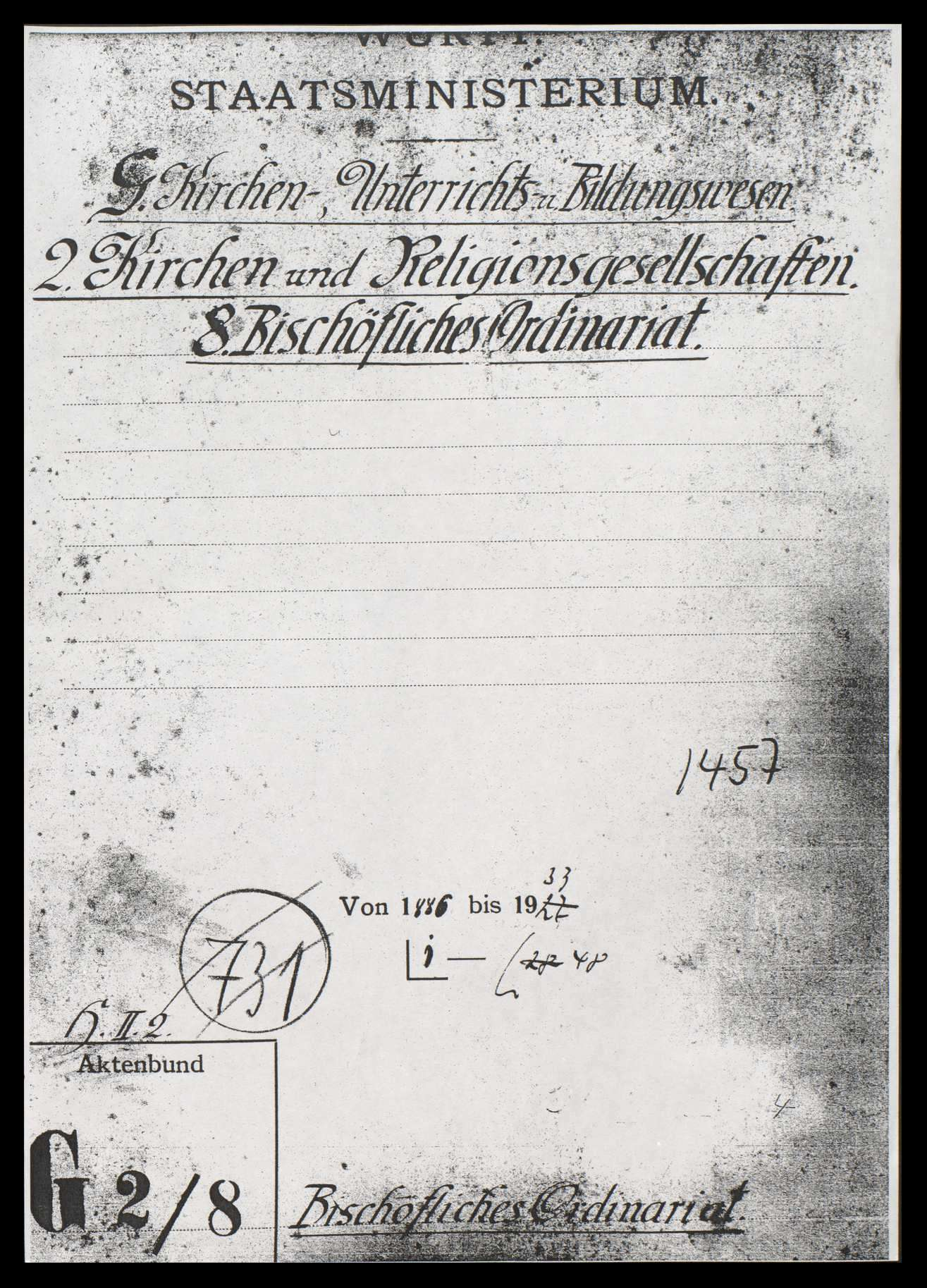 Bischöfliches Ordinariat und Bischof in Rottenburg (mit vielen Zeitungsausschnitten), Bild 1