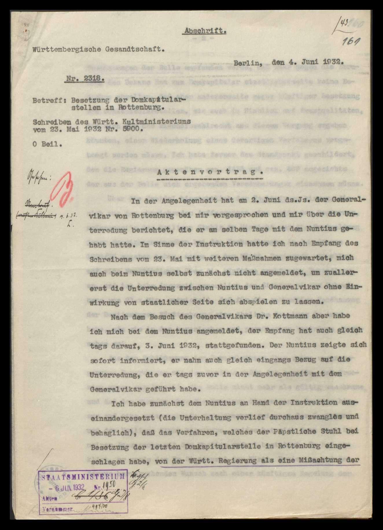 Bischöfliches Ordinariat und Bischof in Rottenburg (mit vielen Zeitungsausschnitten), Bild 2