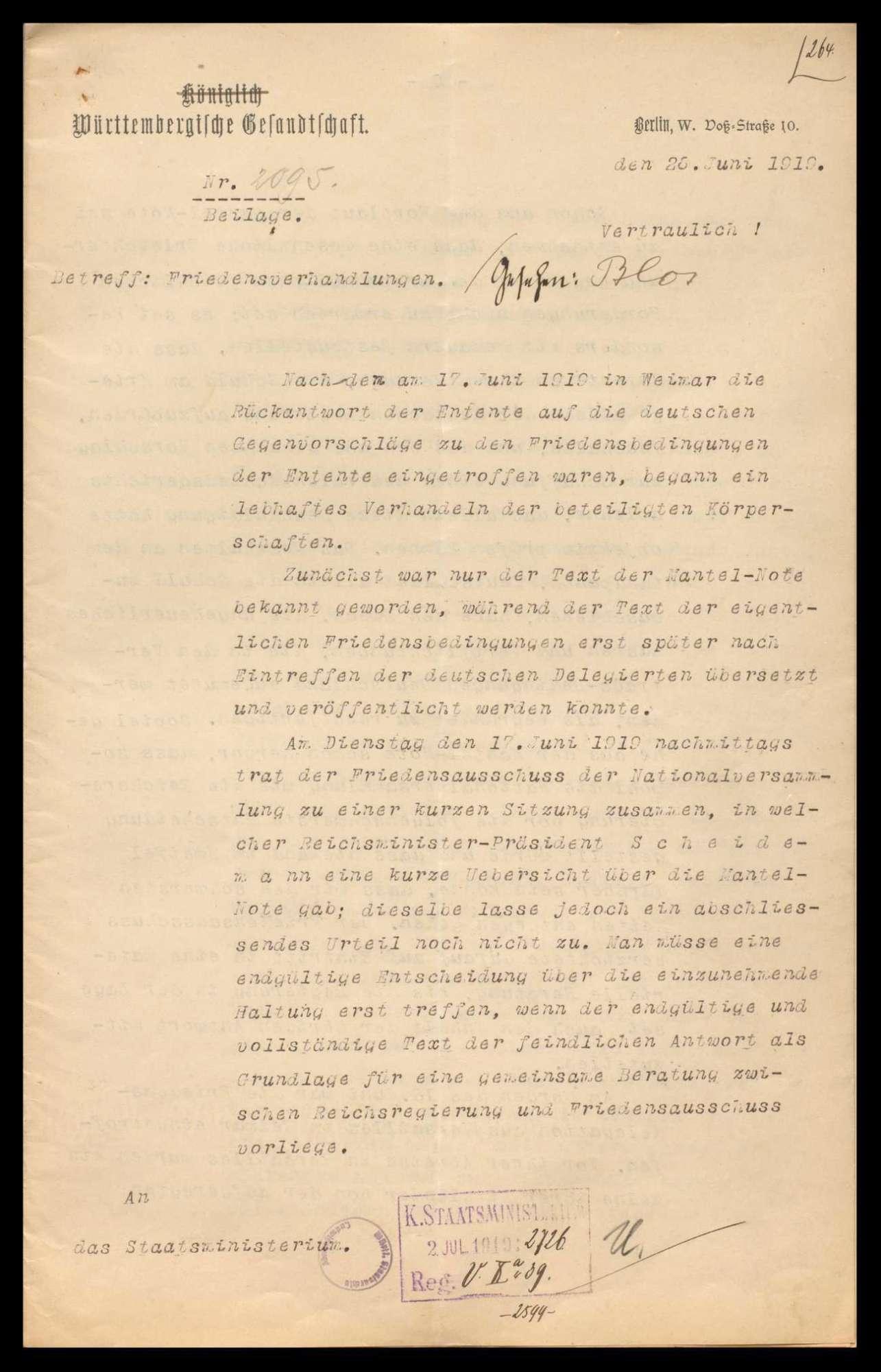 Friedensvertragsverhandlungen in Versailles, Friedensbedingungen, besetztes deutsches Gebiet, Verhandlungen wegen Verkaufs und Einfuhr von Rohstoffen nach Deutschland, Bild 1