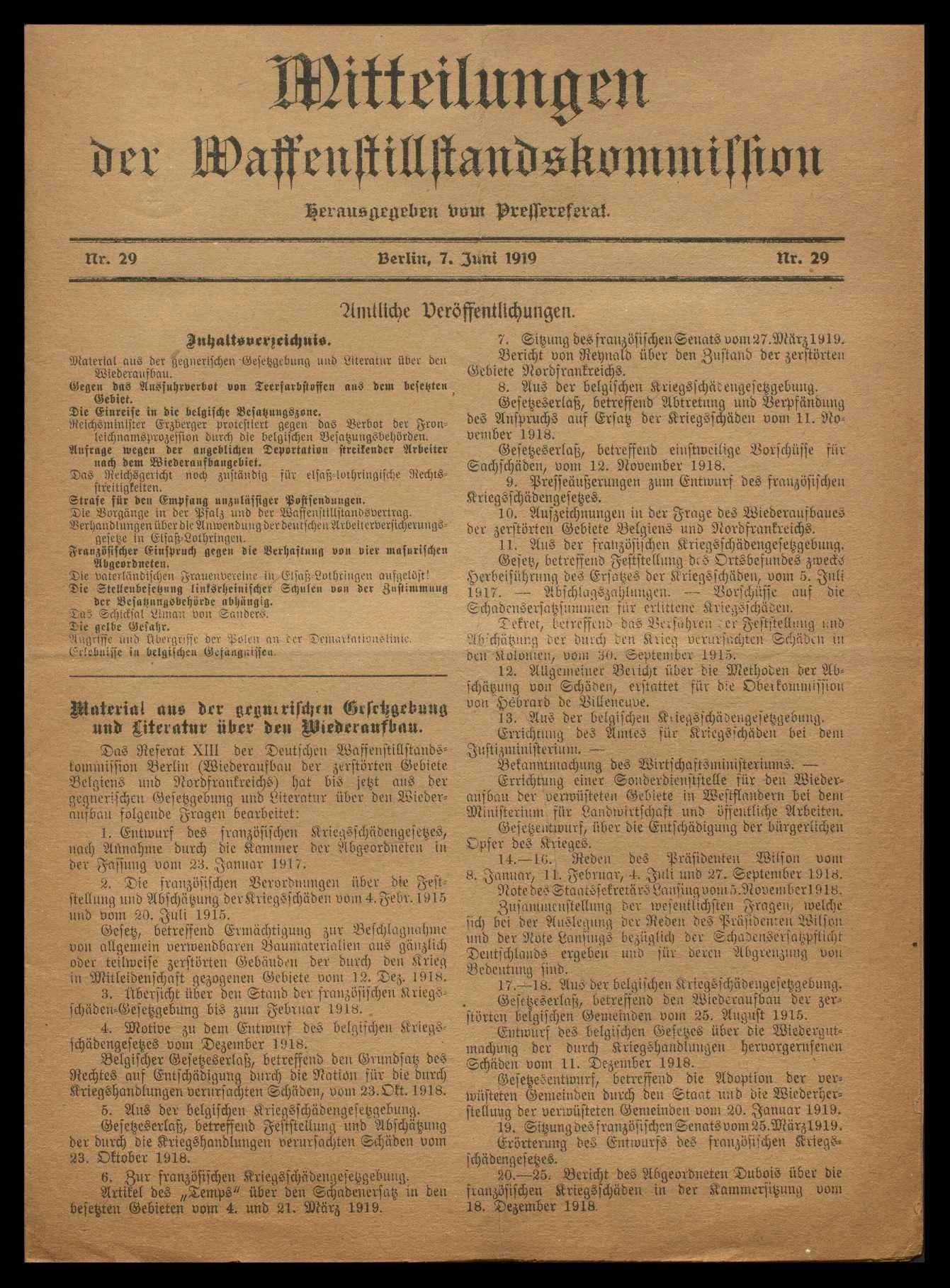 Drucksachen der deutschen Waffenstillstandskommission, Bild 1
