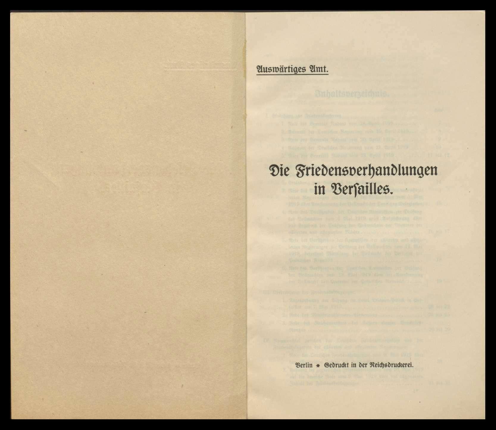 """Broschüre des Auswärtigen Amts """"Die Friedensverhandlungen in Versailles"""" und """"Die Friedensbedingungen von Deutschlands Gegnern"""", Bild 2"""