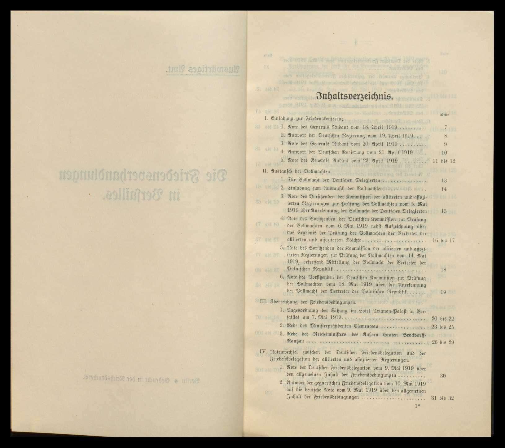 """Broschüre des Auswärtigen Amts """"Die Friedensverhandlungen in Versailles"""" und """"Die Friedensbedingungen von Deutschlands Gegnern"""", Bild 3"""