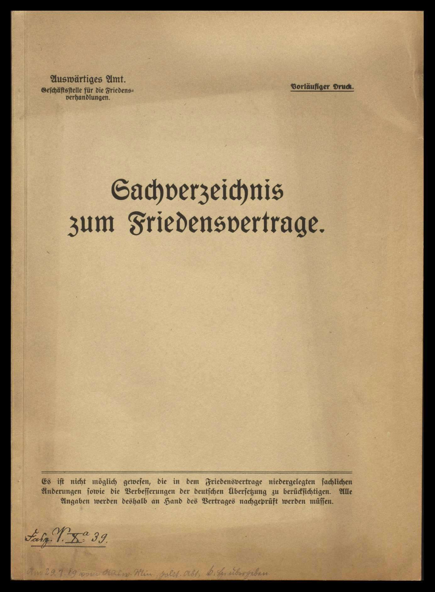 Materialien betr. die Friedensverhandlungen, Teil I - V, und Sachverzeichnis zum Friedensvertrag, Bild 1