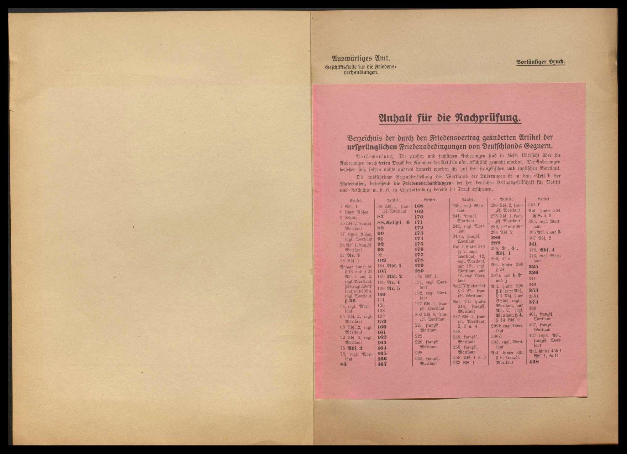 Materialien betr. die Friedensverhandlungen, Teil I - V, und Sachverzeichnis zum Friedensvertrag, Bild 2