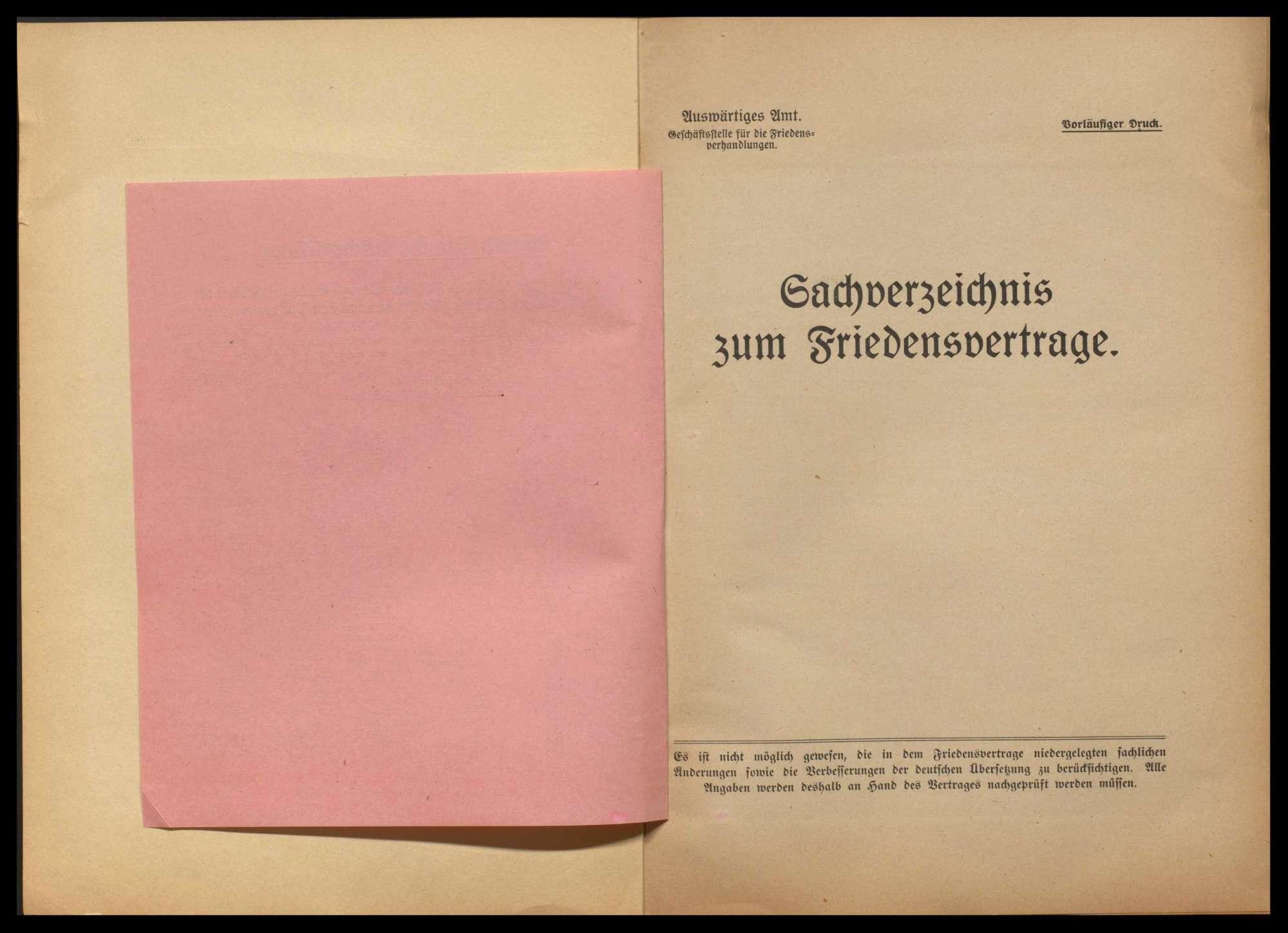 Materialien betr. die Friedensverhandlungen, Teil I - V, und Sachverzeichnis zum Friedensvertrag, Bild 3
