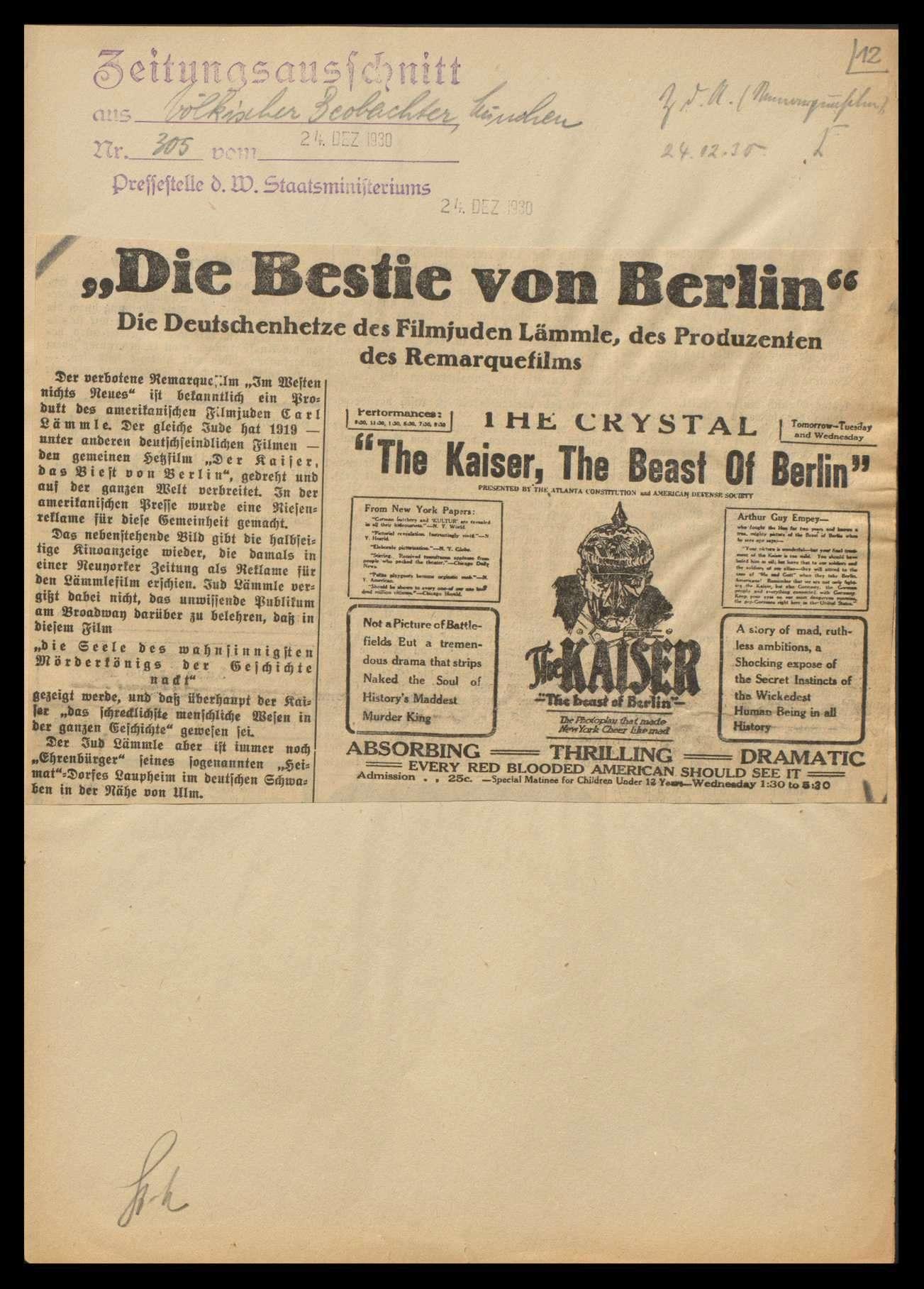 Angriffe gegen den Deutschamerikaner Karl Lämmle wegen Herstellung antideutscher Kriegsfilme, Bild 1