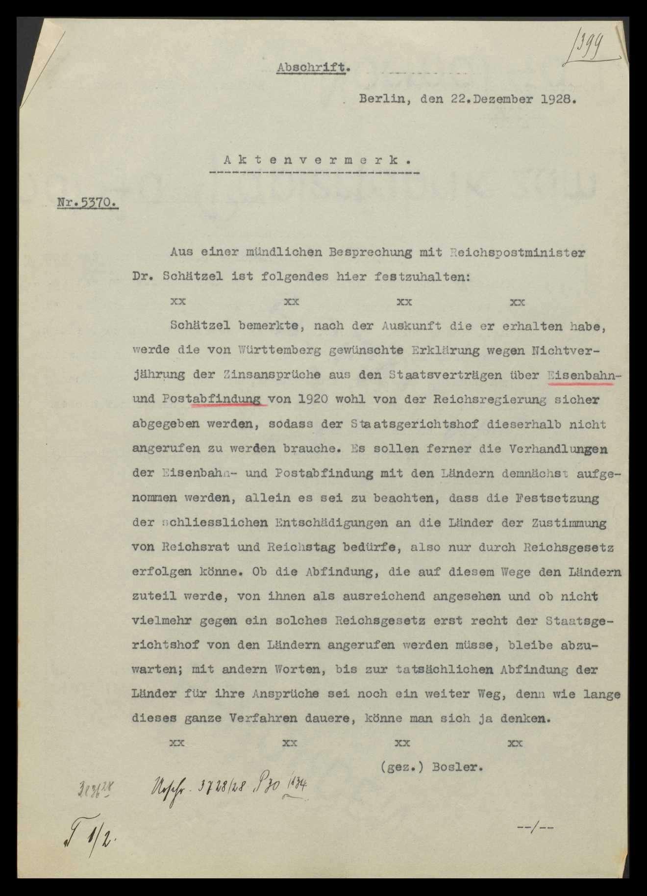 Übergang der Staatseisenbahnen der Länder auf das Reich und sich daraus ergebende Fragen, Auslegung des Staatsvertrags, Bild 1