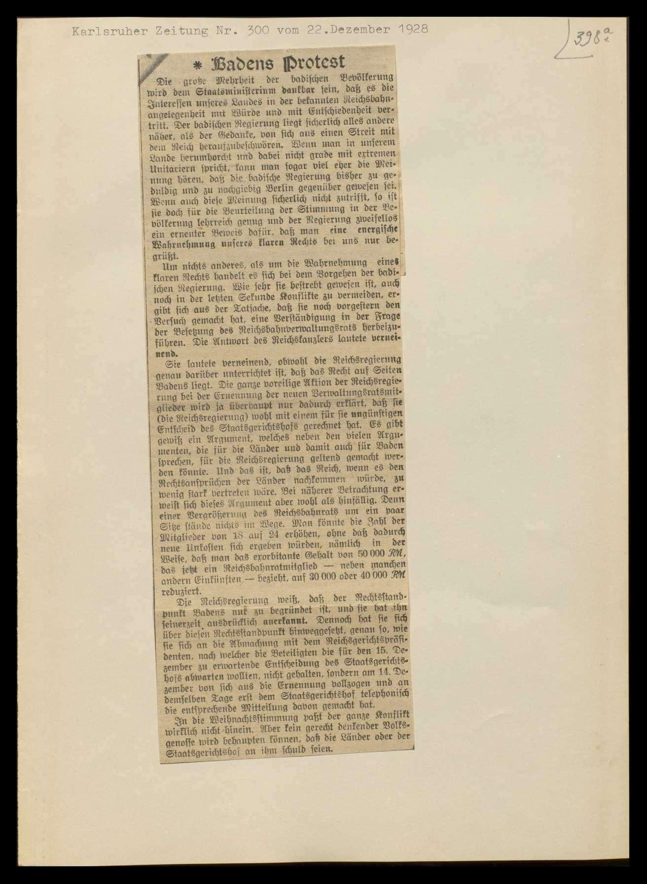 Übergang der Staatseisenbahnen der Länder auf das Reich und sich daraus ergebende Fragen, Auslegung des Staatsvertrags, Bild 3