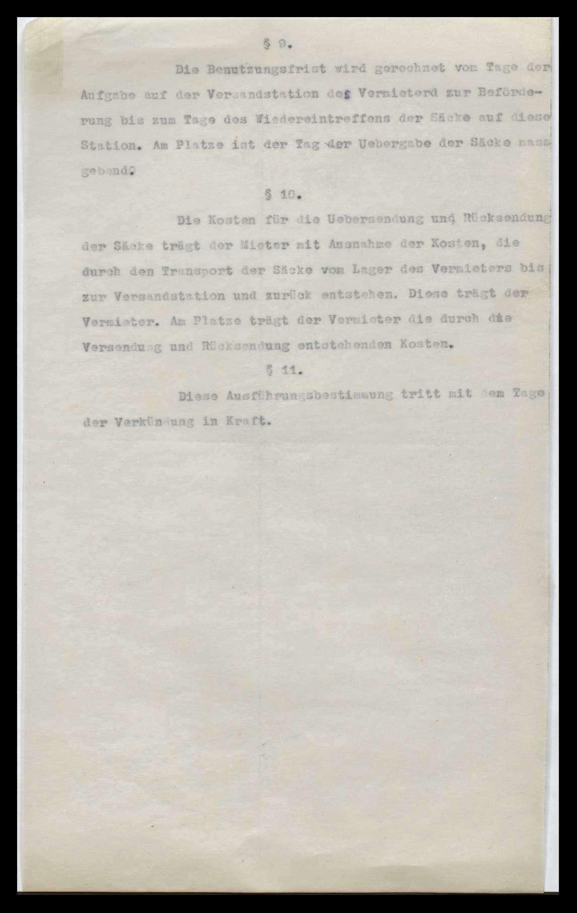 Reichssackstelle, Verkehr mit Säcken, Bild 2