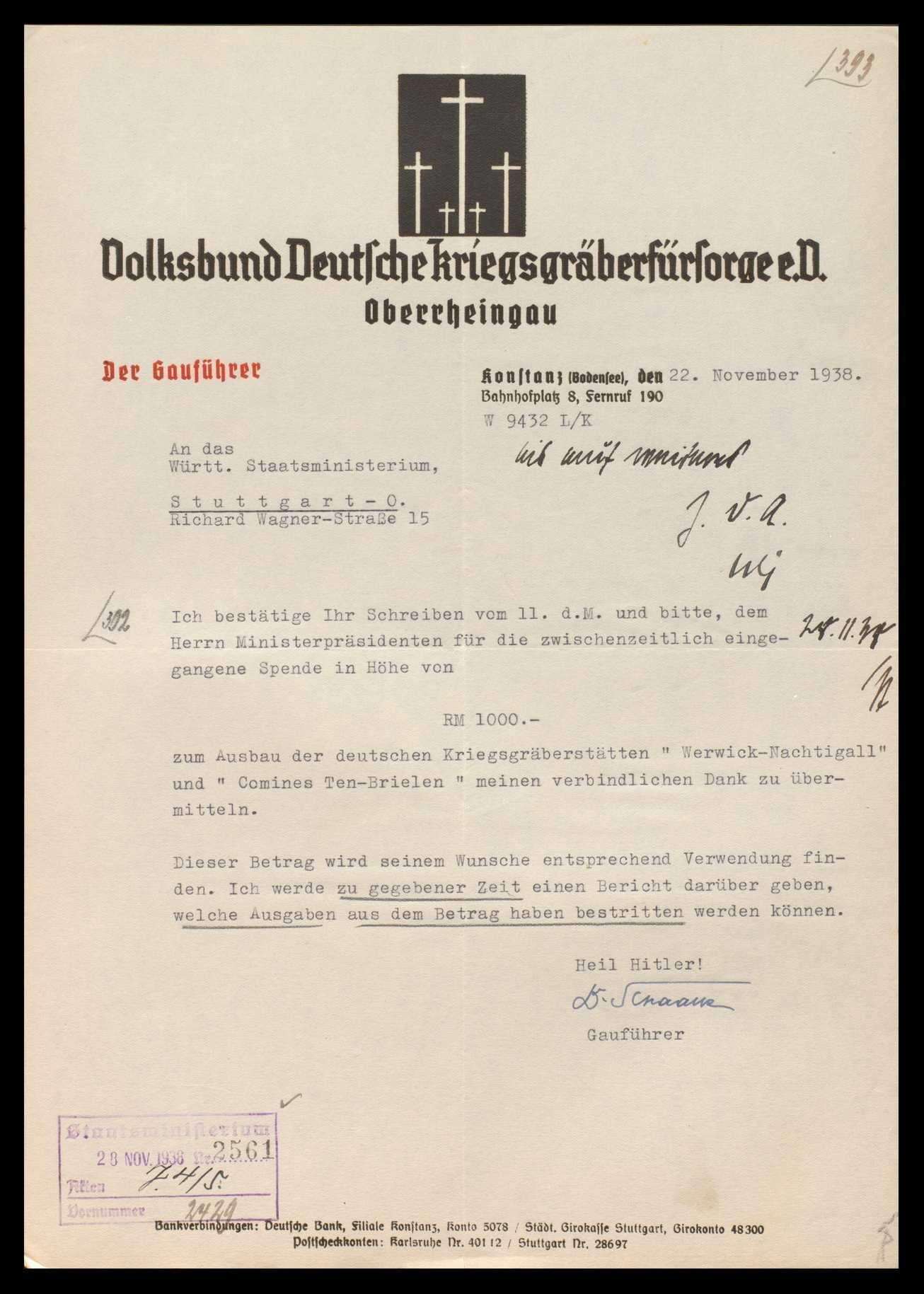 Volksbund Deutsche Kriegsgräberfürsorge in Berlin sowie Landesverband (ab 1934 Bezirk) Württemberg, Ortsgruppe Stuttgart und Oberrheingau, Bild 1