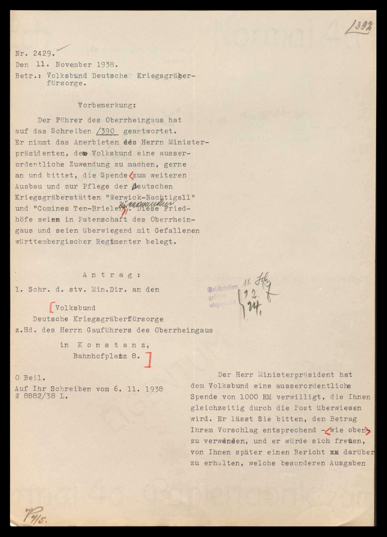 Volksbund Deutsche Kriegsgräberfürsorge in Berlin sowie Landesverband (ab 1934 Bezirk) Württemberg, Ortsgruppe Stuttgart und Oberrheingau, Bild 2