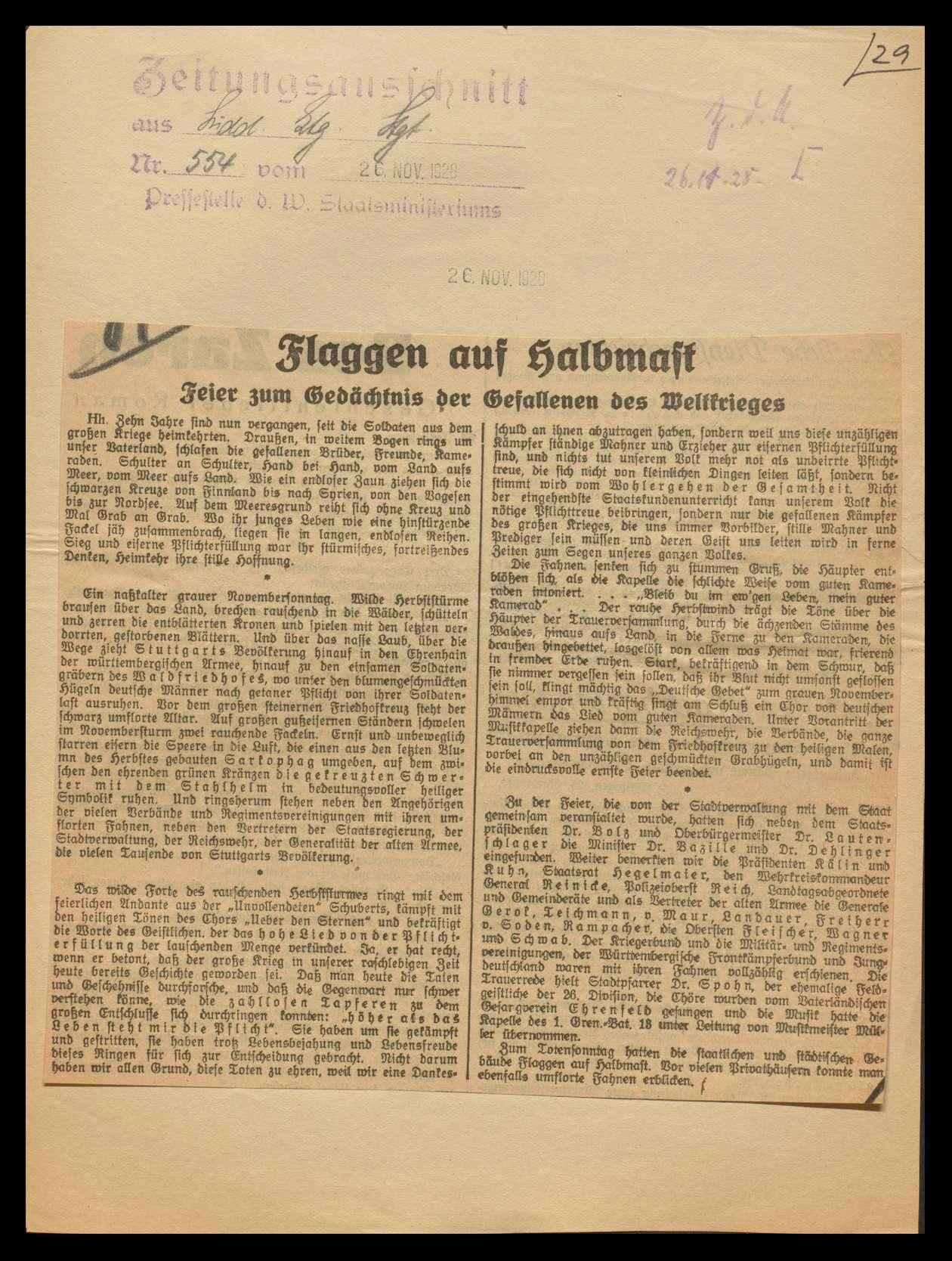Veranstaltung von Gefallenengedenkfeiern im Reich und in Württemberg, besonders in Stuttgart, chronologisch geordnet, Bild 3