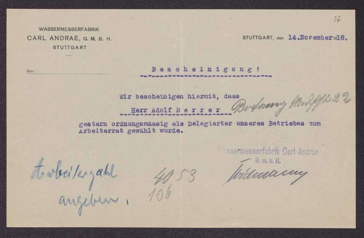 Wahlen in Stuttgarter Firmen, Verbänden, Vereinen und Behörden zum Arbeiterrat Groß-Stuttgart, Bild 2