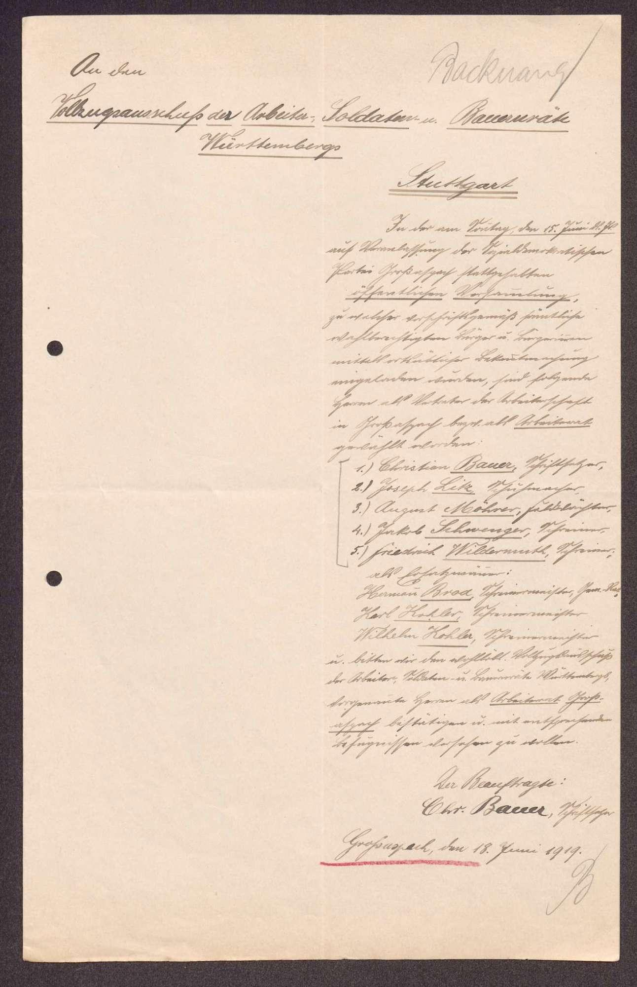 Wahl, Zusammensetzung und Auflösung der Arbeiter- und Bauernräte im Oberamt Backnang, Bild 2