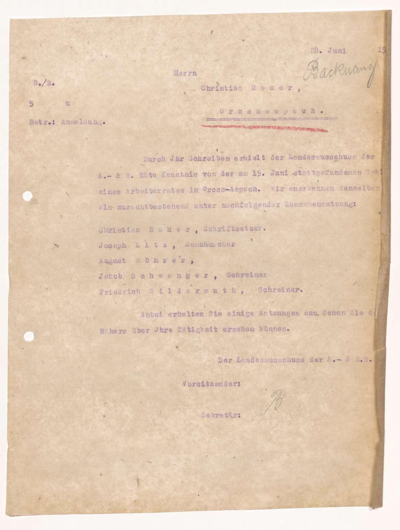 Wahl, Zusammensetzung und Auflösung der Arbeiter- und Bauernräte im Oberamt Backnang, Bild 3