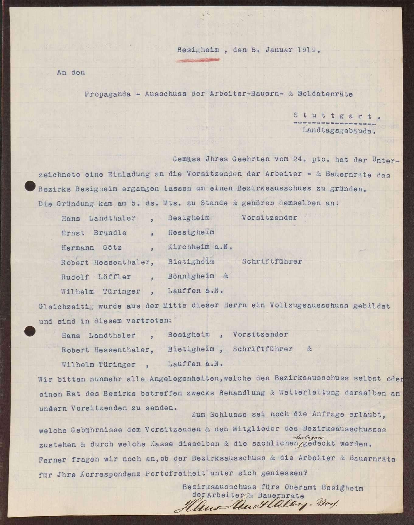 Wahl, Zusammensetzung und Auflösung der Arbeiter- und Bauernräte im Oberamt Besigheim, Bild 2