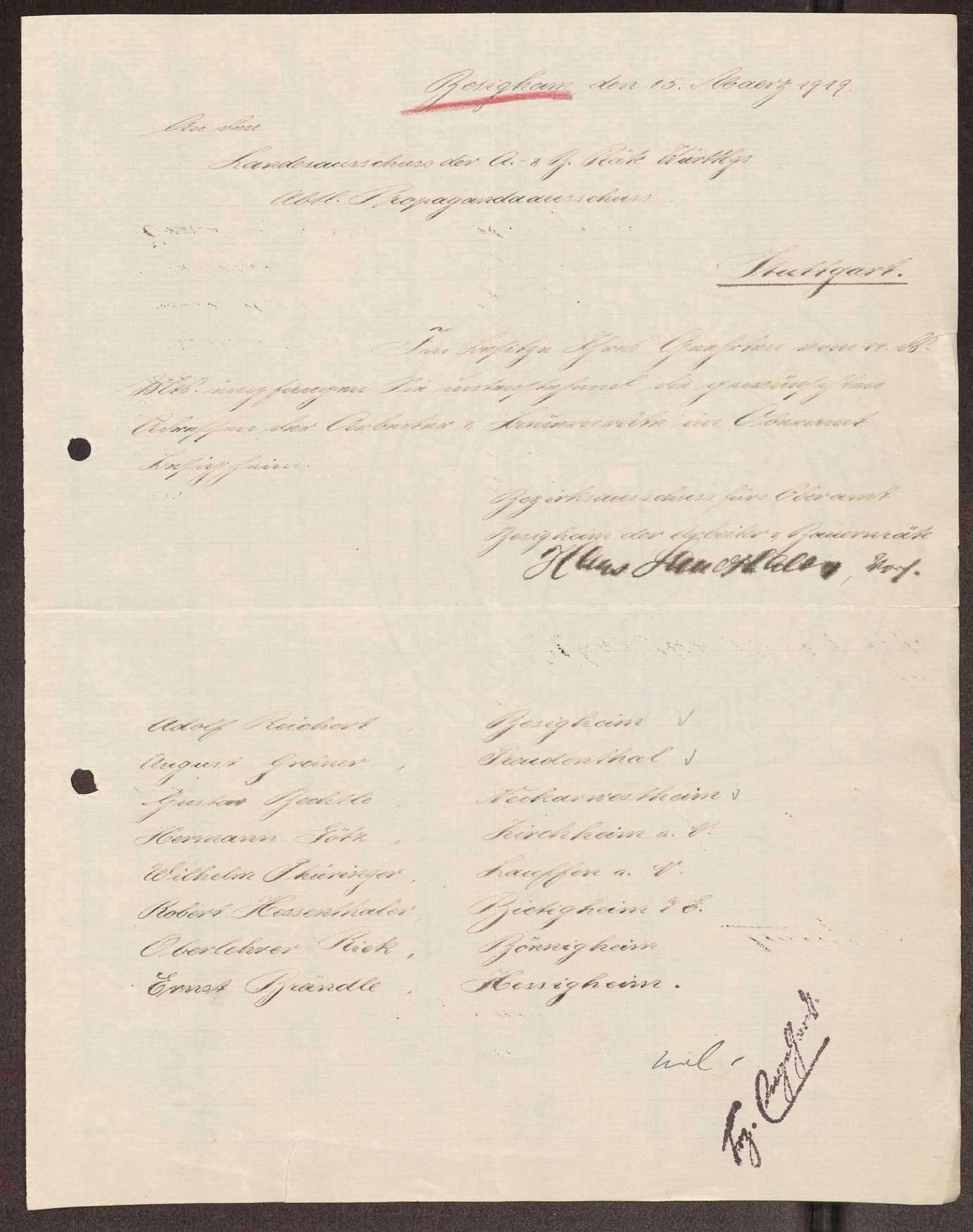 Wahl, Zusammensetzung und Auflösung der Arbeiter- und Bauernräte im Oberamt Besigheim, Bild 3
