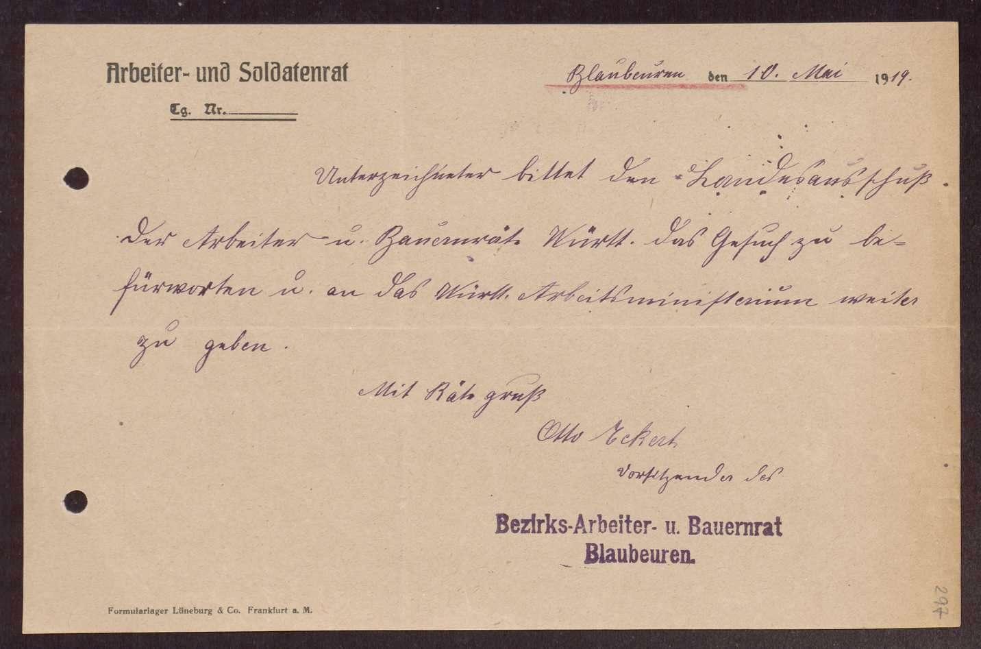 Wahl, Zusammensetzung und Auflösung der Arbeiter- und Bauerräte im Oberamt Blaubeuren, Bild 2