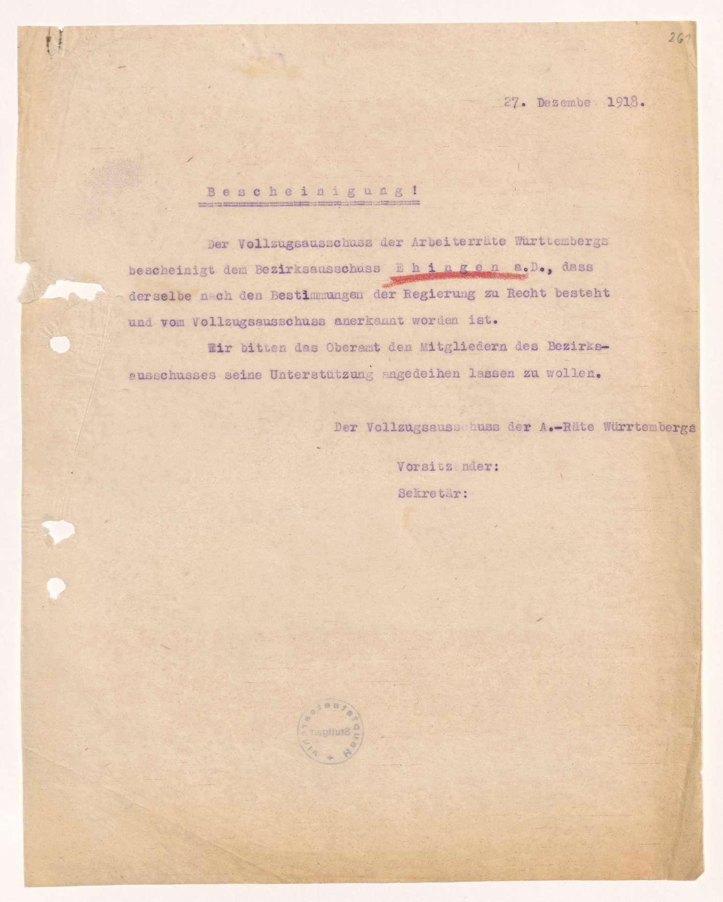 Wahl, Zusammensetzung und Auflösung der Arbeiter- und Bauernräte im Oberamt Ehingen, Bild 2