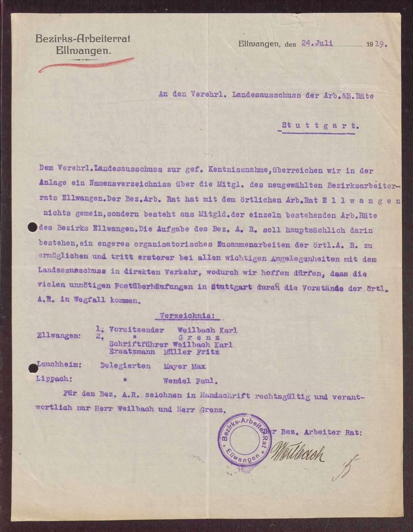 Wahl, Zusammensetzung und Auflösung der Arbeiter- und Bauernräte im Oberamt Ellwangen, Bild 2
