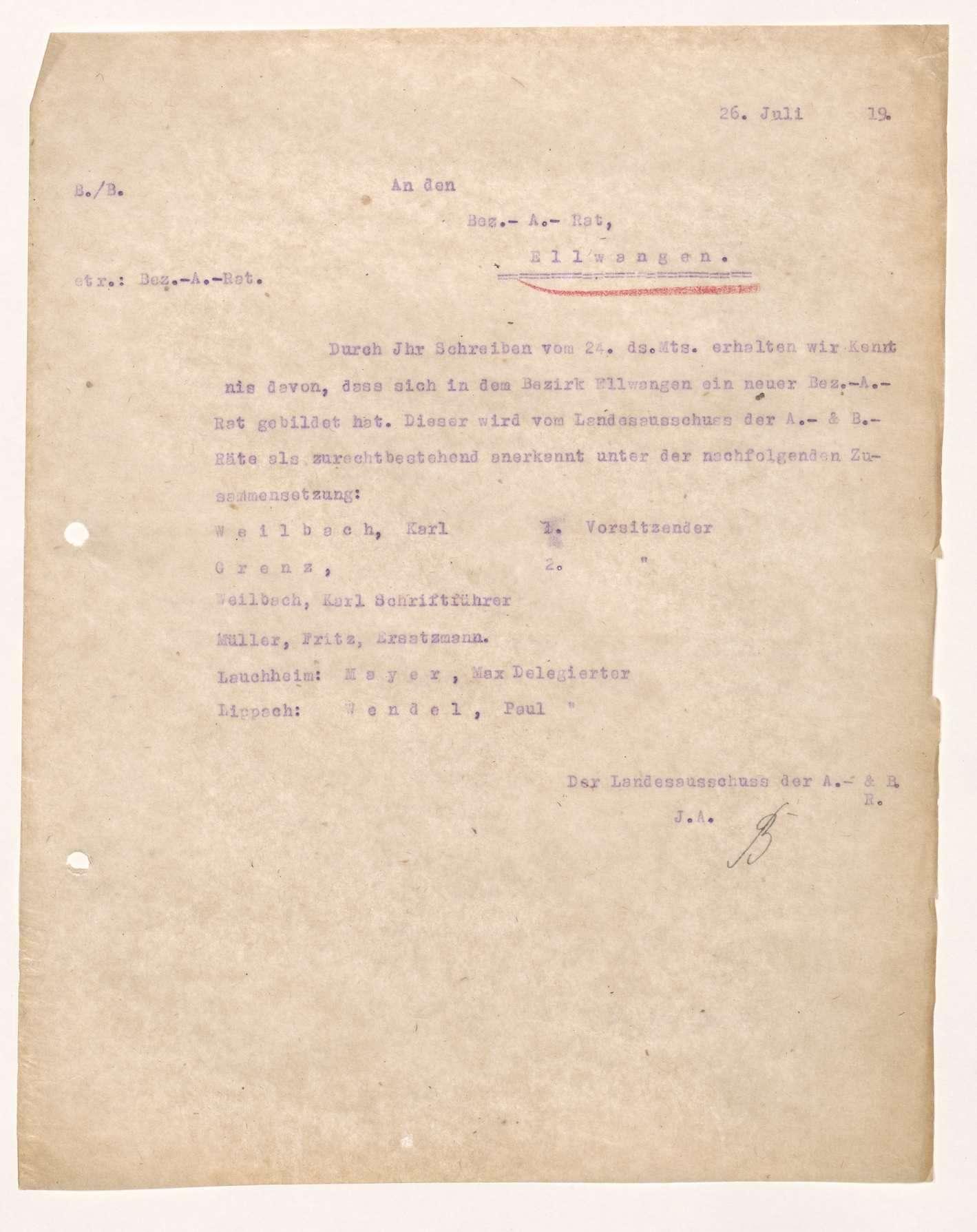 Wahl, Zusammensetzung und Auflösung der Arbeiter- und Bauernräte im Oberamt Ellwangen, Bild 3