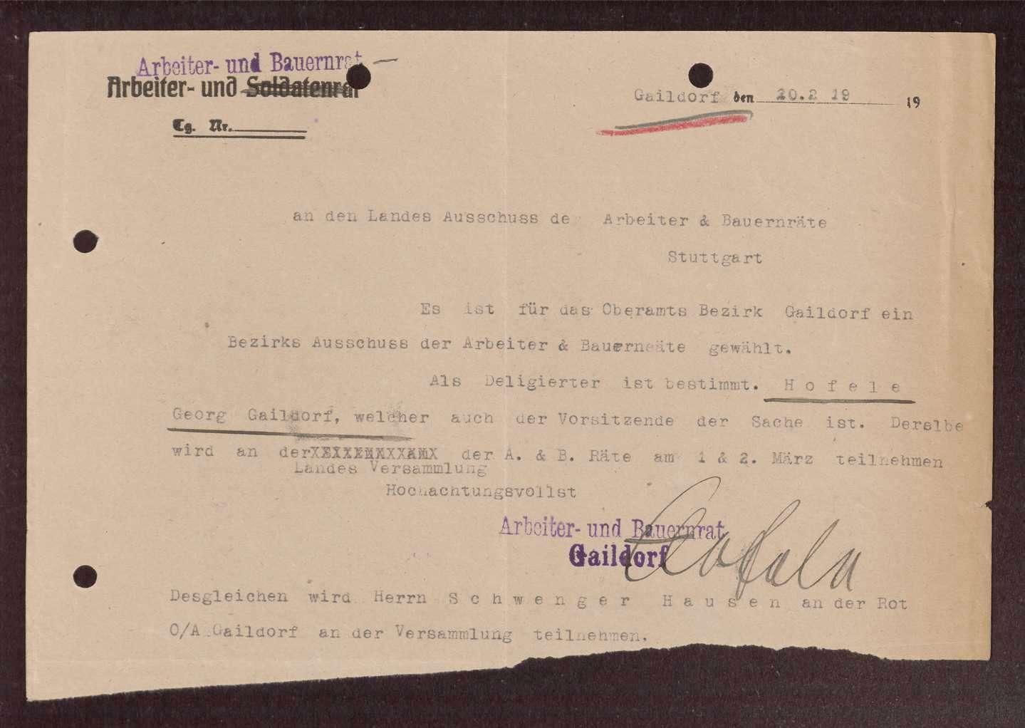 Wahl, Zusammensetzung und Auflösung der Arbeiter- und Bauernräte im Oberamt Gaildorf, Bild 2
