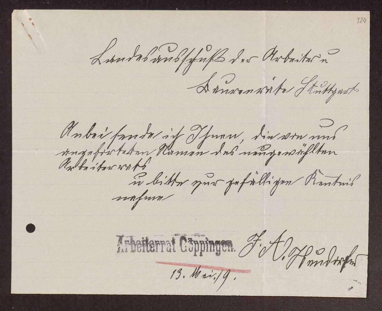 Wahl, Zusammensetzung und Auflösung der Arbeiter- und Bauernräte im Oberamt Göppingen, Bild 3