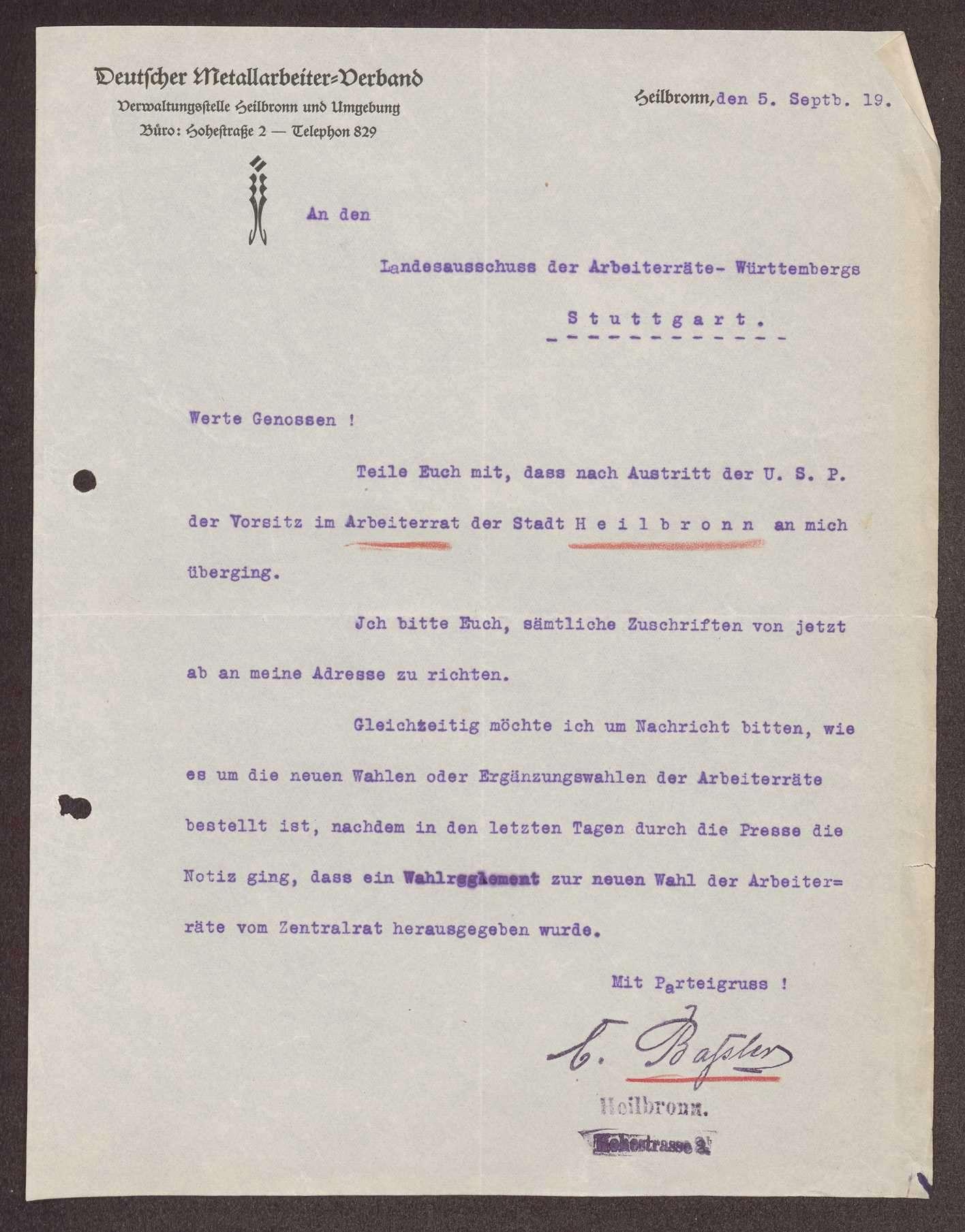 Wahl, Zusammensetzung und Auflösung der Arbeiter- und Bauernräte im Oberamt Heilbronn, Bild 2