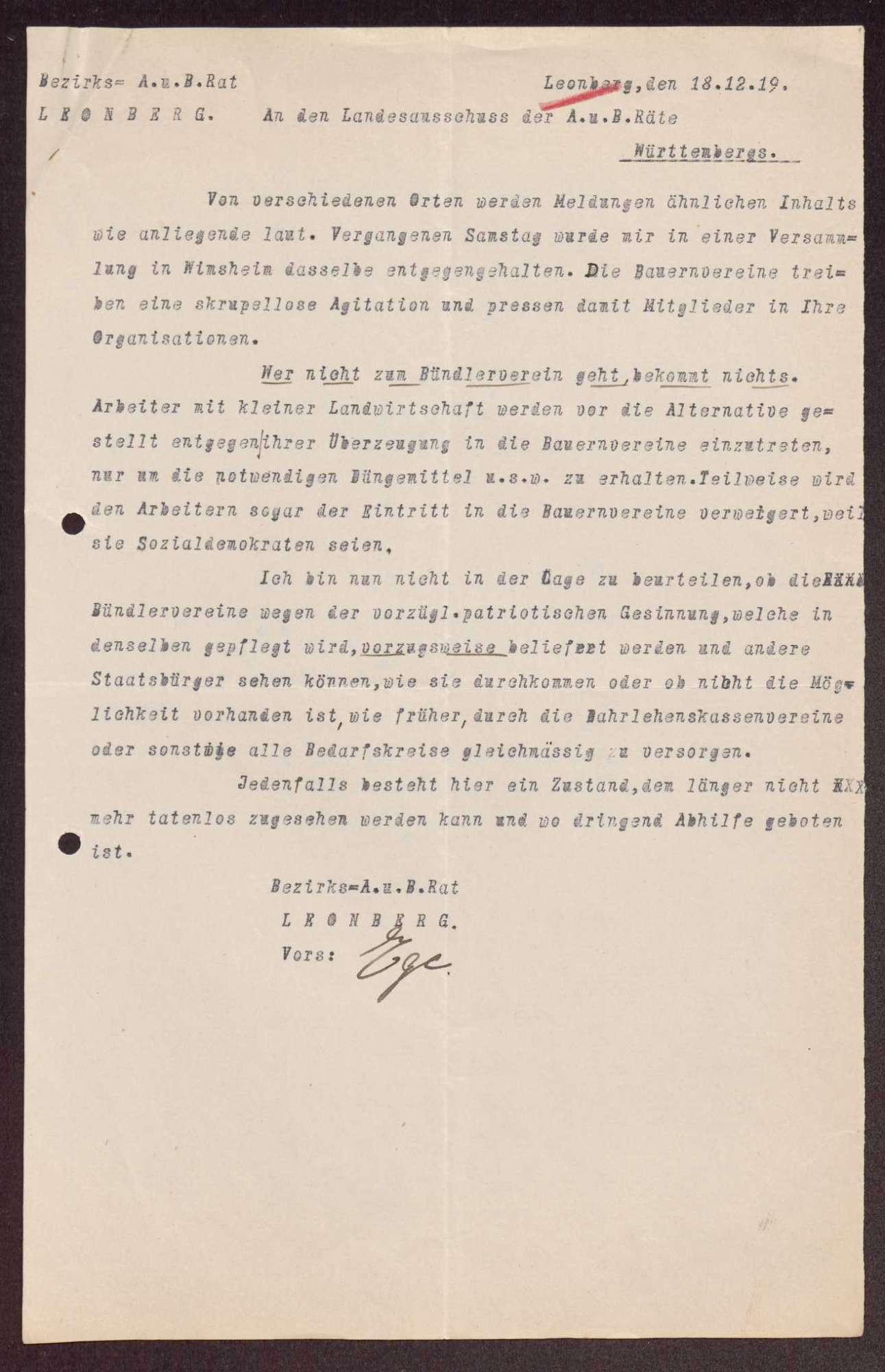 Wahl, Zusammensetzung und Auflösung der Arbeiter- und Bauernräte im Oberamt Leonberg, Bild 3