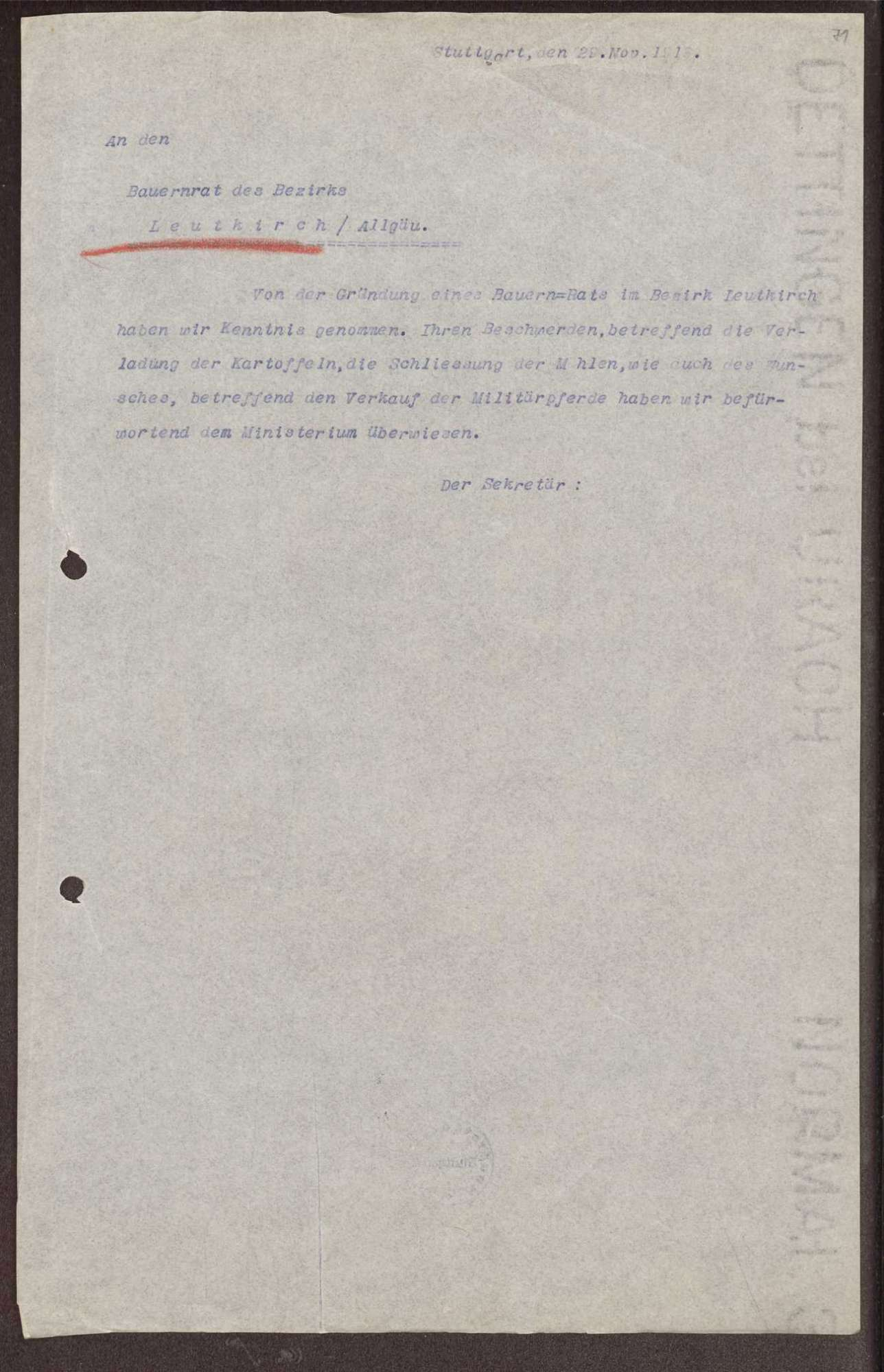 Wahl, Zusammensetzung und Auflösung der Arbeiter- und Bauernräte im Oberamt Leutkirch, Bild 3
