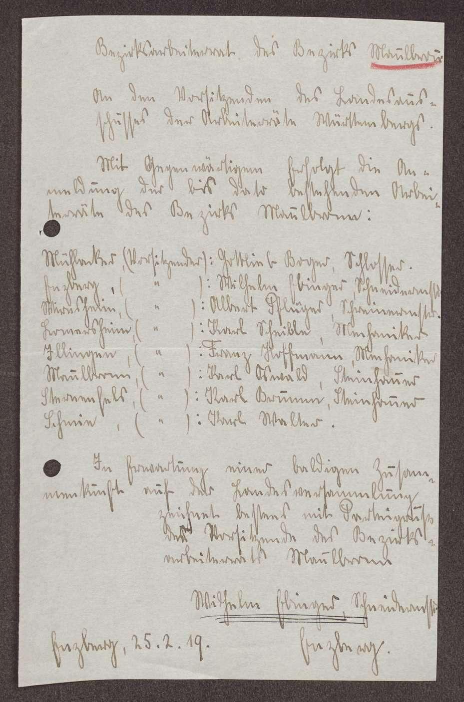Wahl, Zusammensetzung und Auflösung der Arbeiter- und Bauernräte im Oberamt Maulbronn, Bild 1