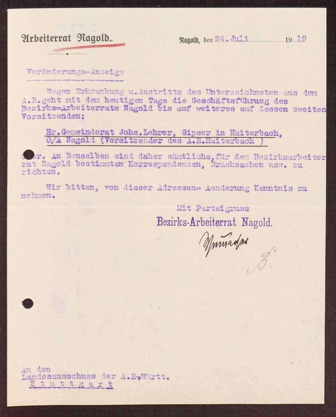 Wahl, Zusammensetzung und Auflösung der Arbeiter- und Bauernräte im Oberamt Nagold, Bild 2