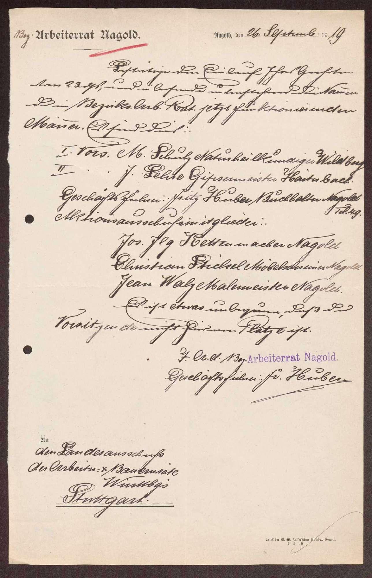 Wahl, Zusammensetzung und Auflösung der Arbeiter- und Bauernräte im Oberamt Nagold, Bild 3