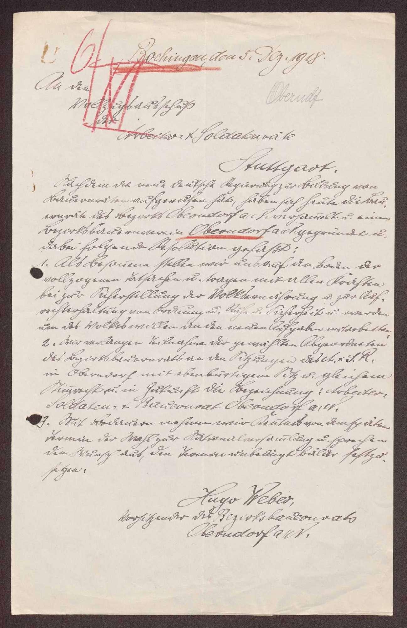 Wahl, Zusammensetzung und Auflösung der Arbeiter- und Bauernräte im Oberamt Oberndorf, Bild 2