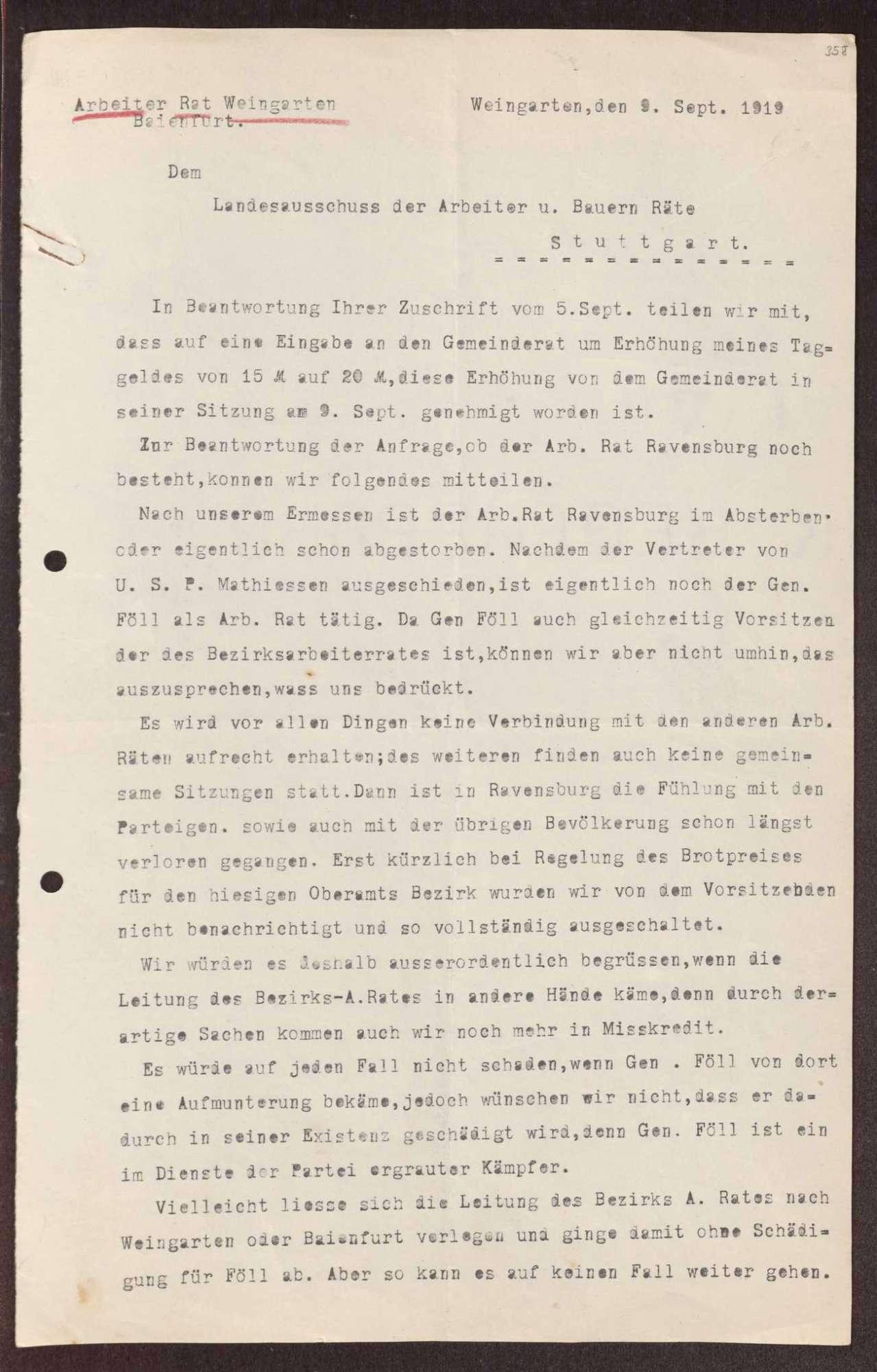 Wahl, Zusammensetzung und Auflösung der Arbeiter- und Bauernräte im Oberamt Ravensburg, Bild 2