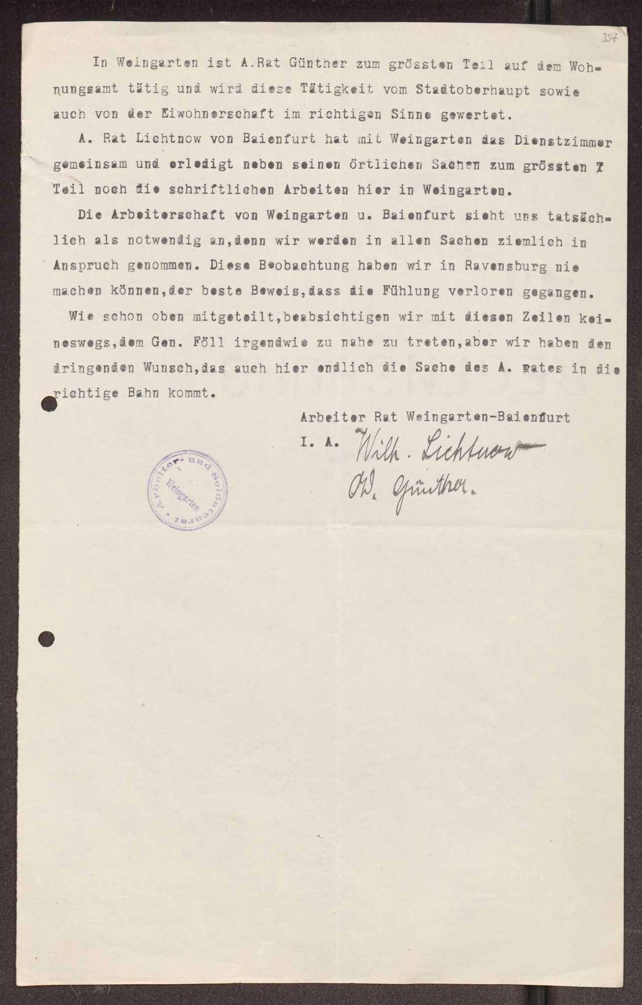 Wahl, Zusammensetzung und Auflösung der Arbeiter- und Bauernräte im Oberamt Ravensburg, Bild 3