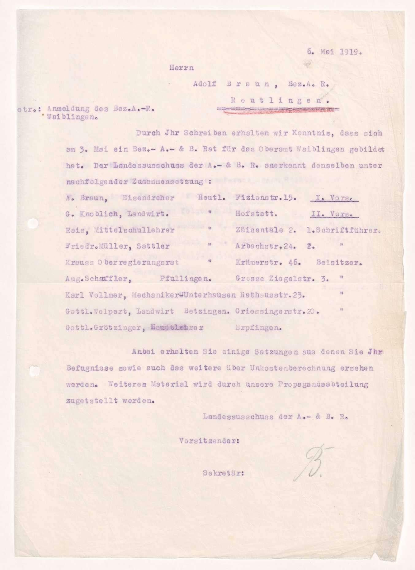 Wahl, Zusammensetzung und Auflösung der Arbeiter- und Bauernräte im Oberamt Reutlingen, Bild 2