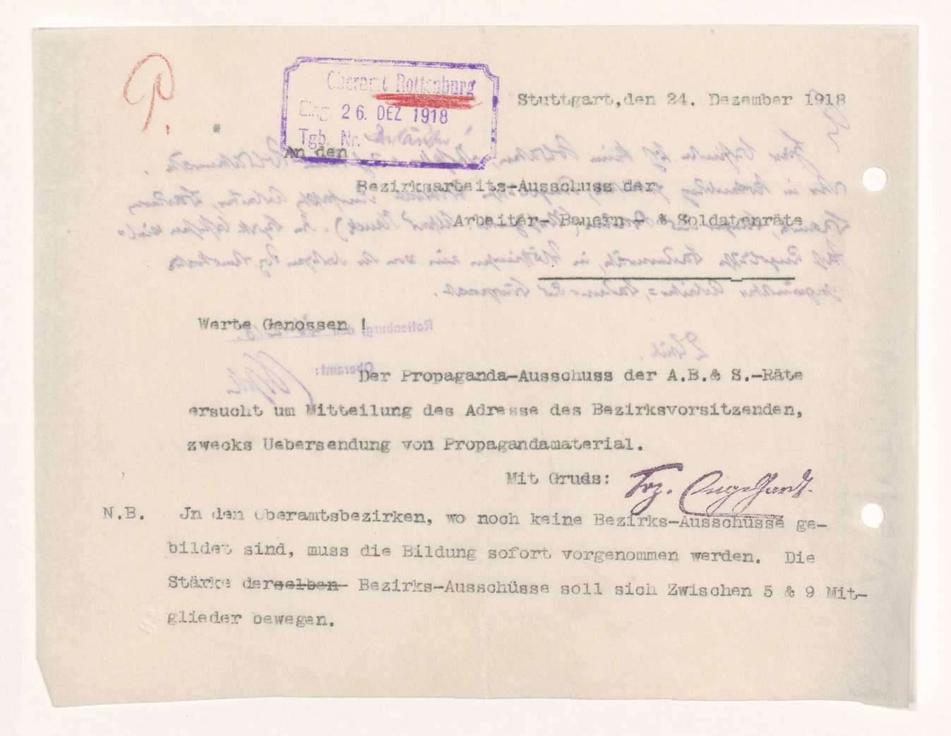 Wahl, Zusammensetzung und Auflösung der Arbeiter- und Bauernräte im Oberamt Rottenburg, Bild 2