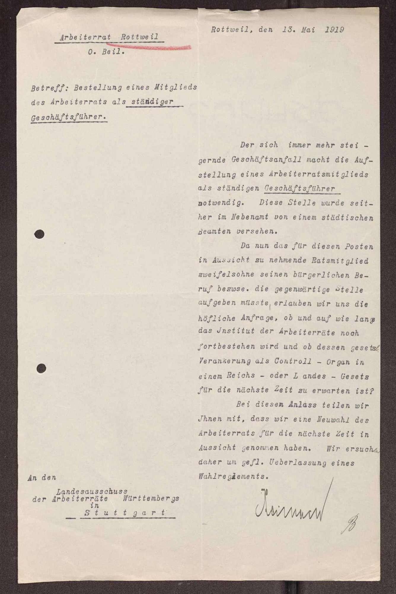 Wahl, Zusammensetzung und Auflösung der Arbeiter- und Bauernräte im Oberamt Rottweil, Bild 3
